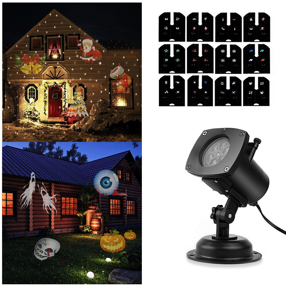 [US Direct] SOLLED Halloween/Christmas/Easter Projector Lamp Rotating LED Projection Light 12 Patterns Pumpkin/Ghost/Heart/Snowflake 12 Replaceable Lens for Birthday Wedding Celebration Decoration