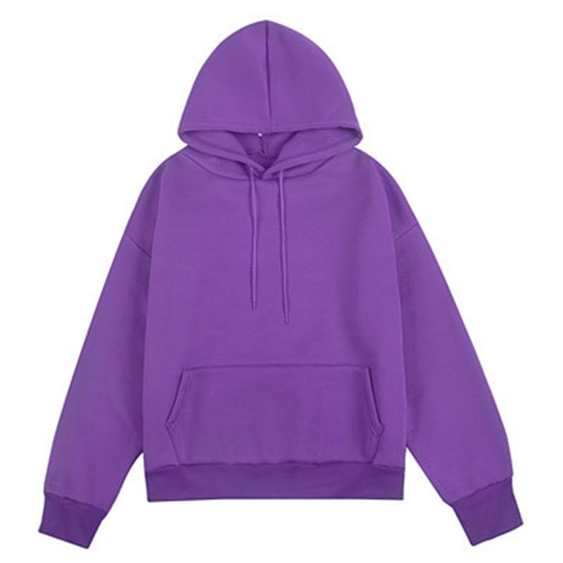 Women Stylish Casual Fleece Solid Color Pullover Hooded Sweatshirt
