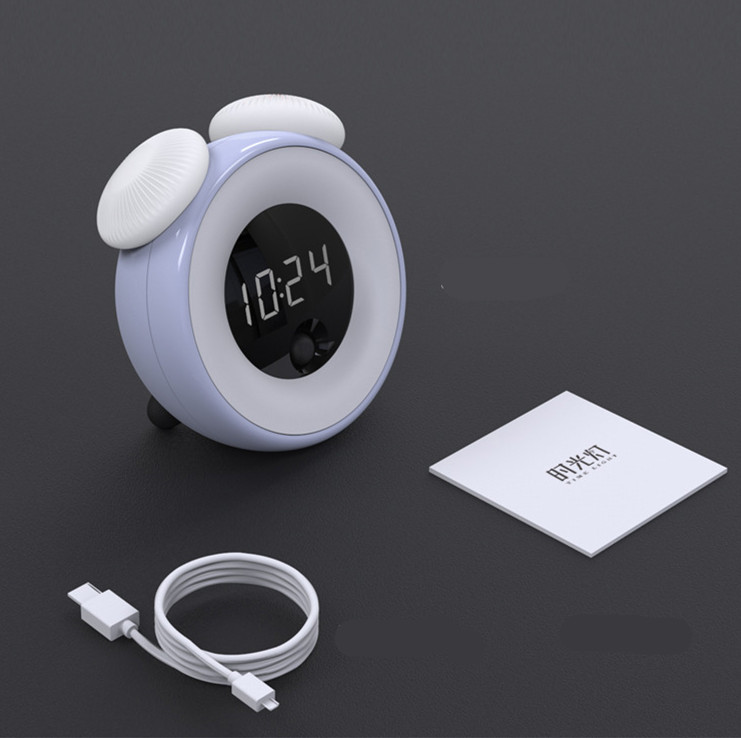 Smart Alarm Clock Snooze Induction USB Charging Night Light for Bedrooms  blue