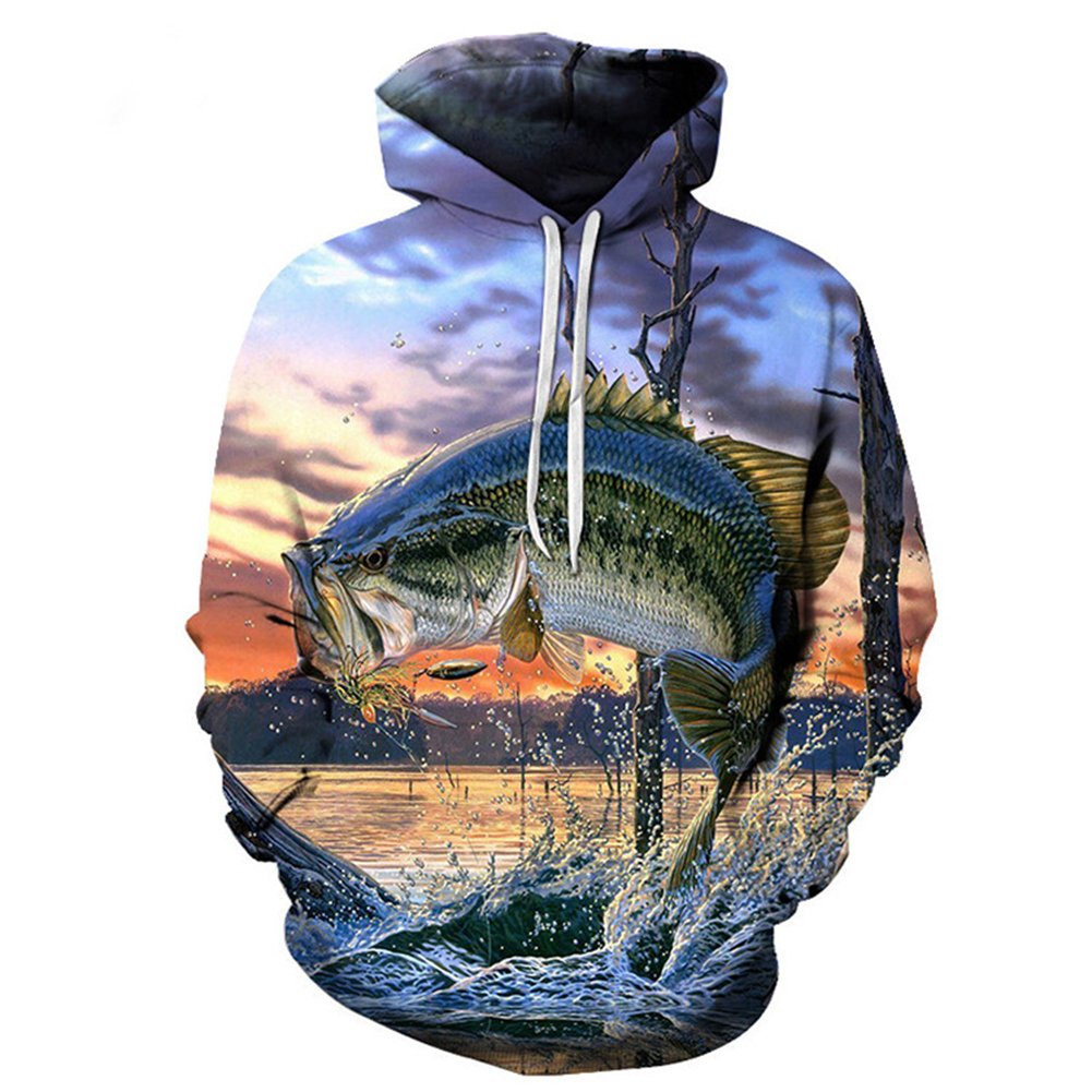 Unisex 3D Undersea World Fashion Printed Loose-fitting Casual Hoodies  sea blue_S