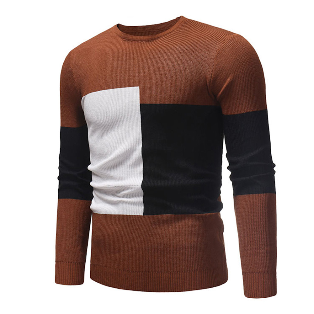 Male Sweater of Long Sleeves and Round Neck Casual Contrast Color Top Pullover Base Shirt caramel colour_XL