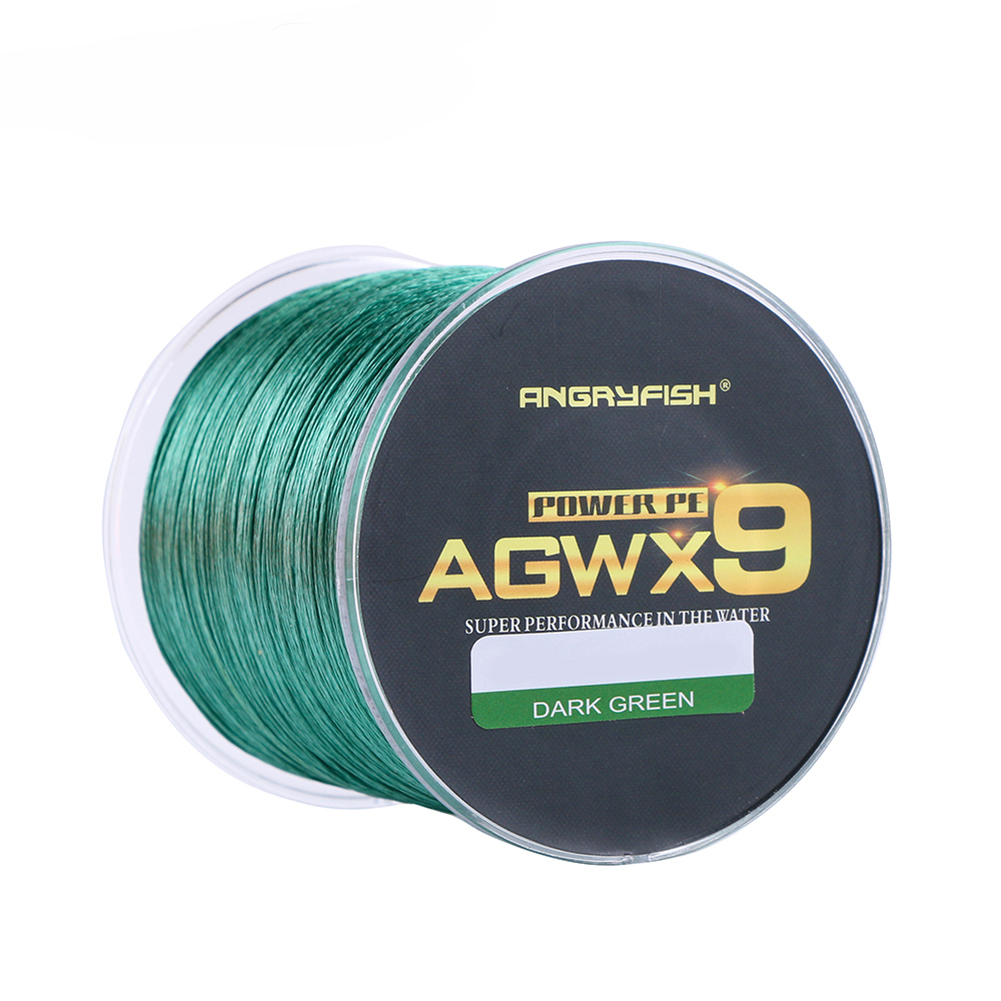 ANGRYFISH Diominate X9 PE Line 9 Strands Weaves Braided 500m/547yds Super Strong Fishing Line 15LB-100LB Dark Green 1.0#: 0.16mm/25LB