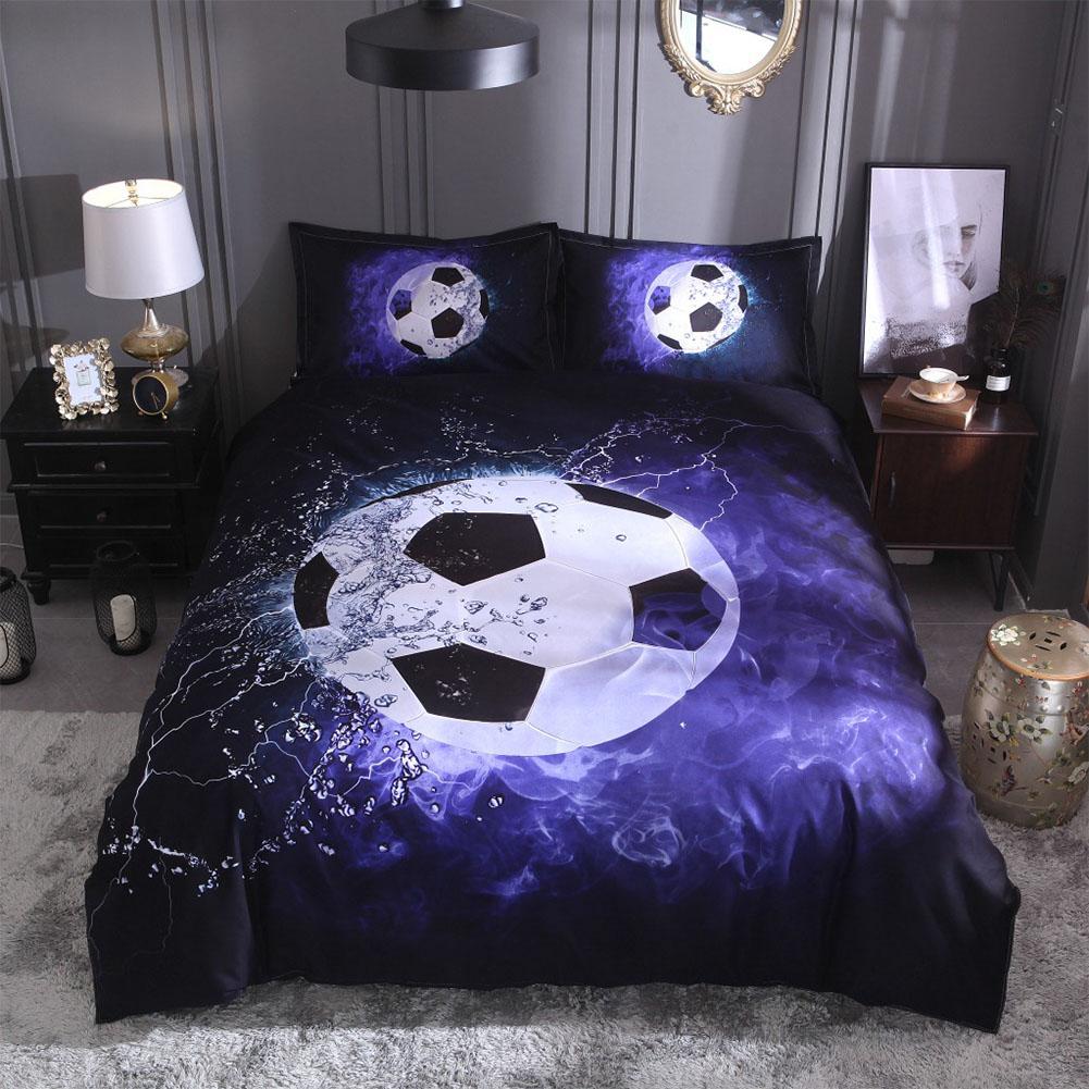 Stylish 3D Sports Theme Bed Set Quilt Cover Pillowcases Housewarming GiftDecoration 3PCS/Set