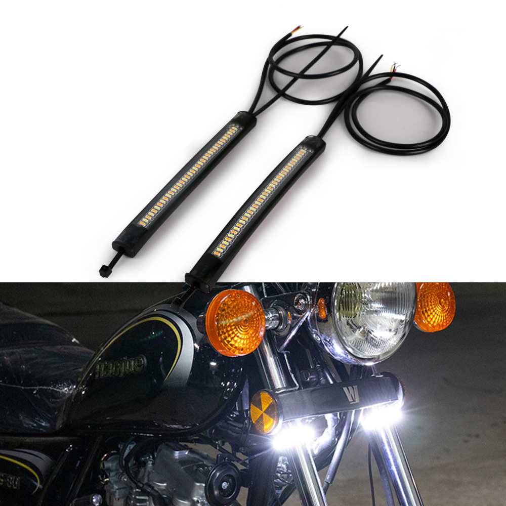 1 Pair Flexible Switchback Dual-color Motorcycle Led Fork Turn Signal Waterproof Daytime Running Light Strips Black