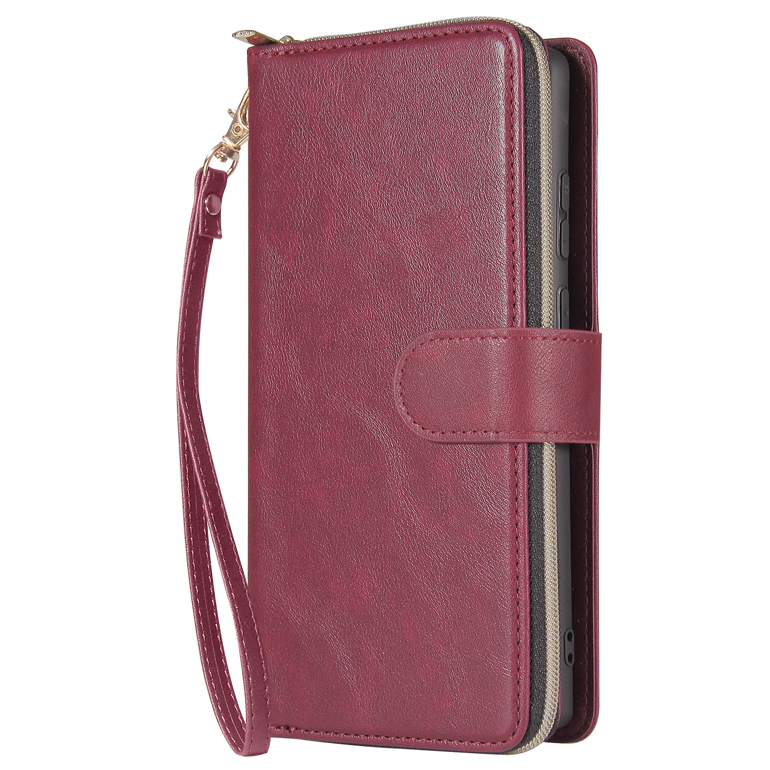 For Samsung A51 5G/A71 5G/Note 10 pro Pu Leather  Mobile Phone Cover Zipper Card Bag + Wrist Strap Red wine