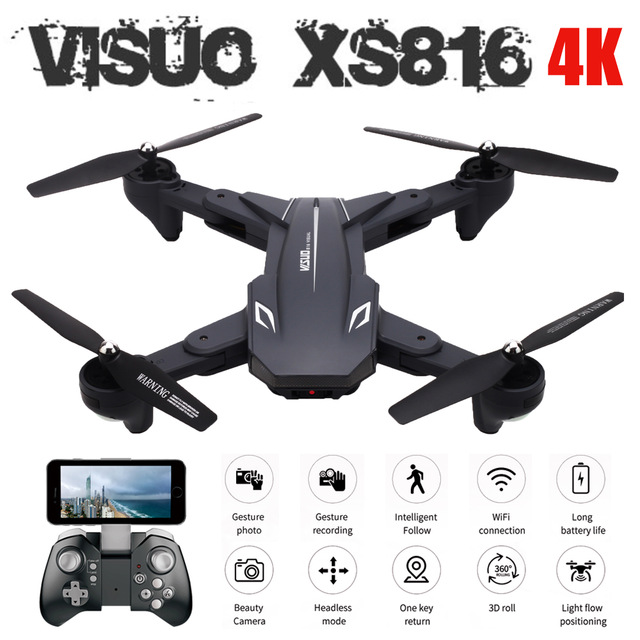 Visuo XS816 Optical Flow Positioning 4K 720P Dual Camera Wifi FPV RC Drone Gesture Shooting Selfie Drone VS XS809HW XS809S E58 2 battery