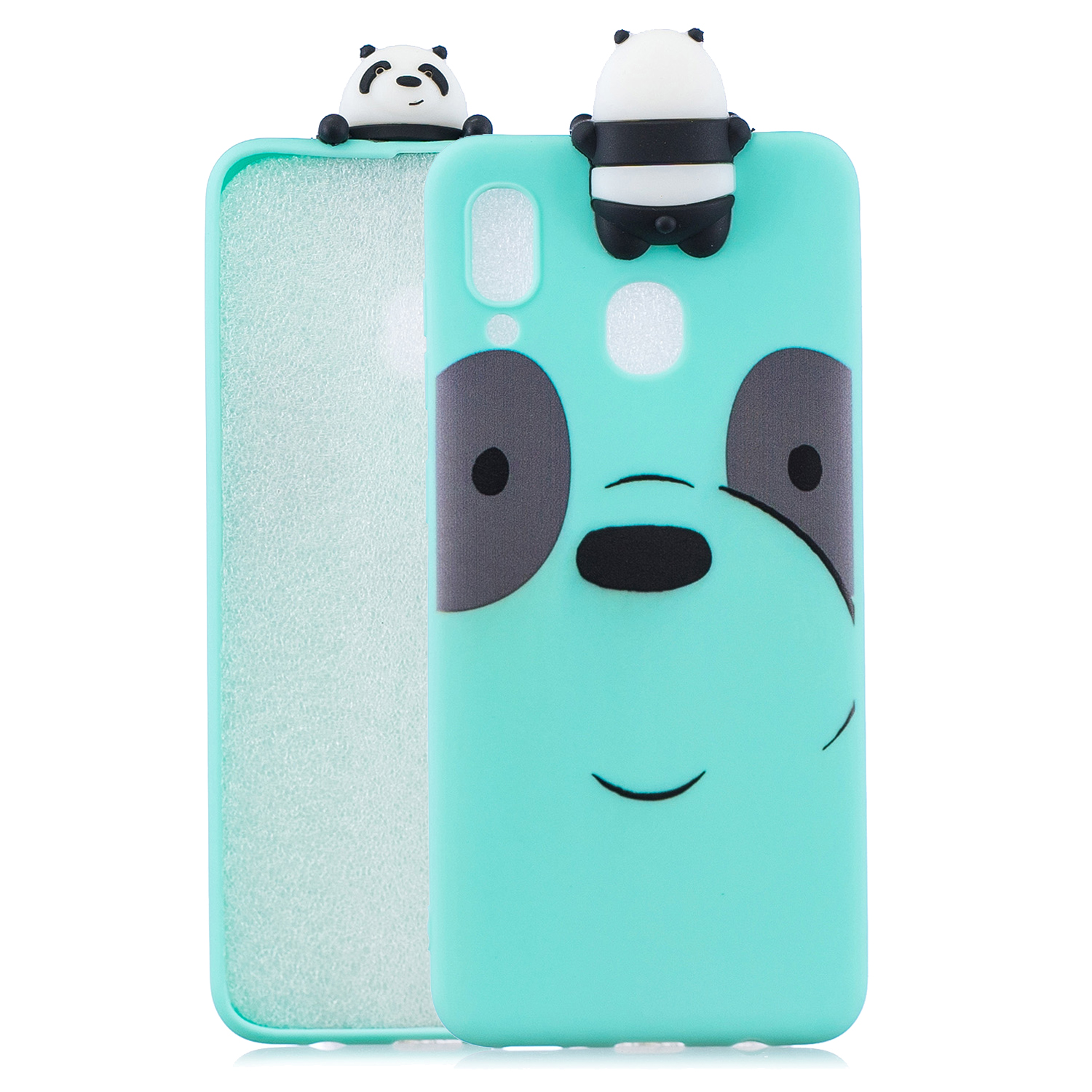 For Samsung M20 3D Cute Coloured Painted Animal TPU Anti-scratch Non-slip Protective Cover Back Case Light blue