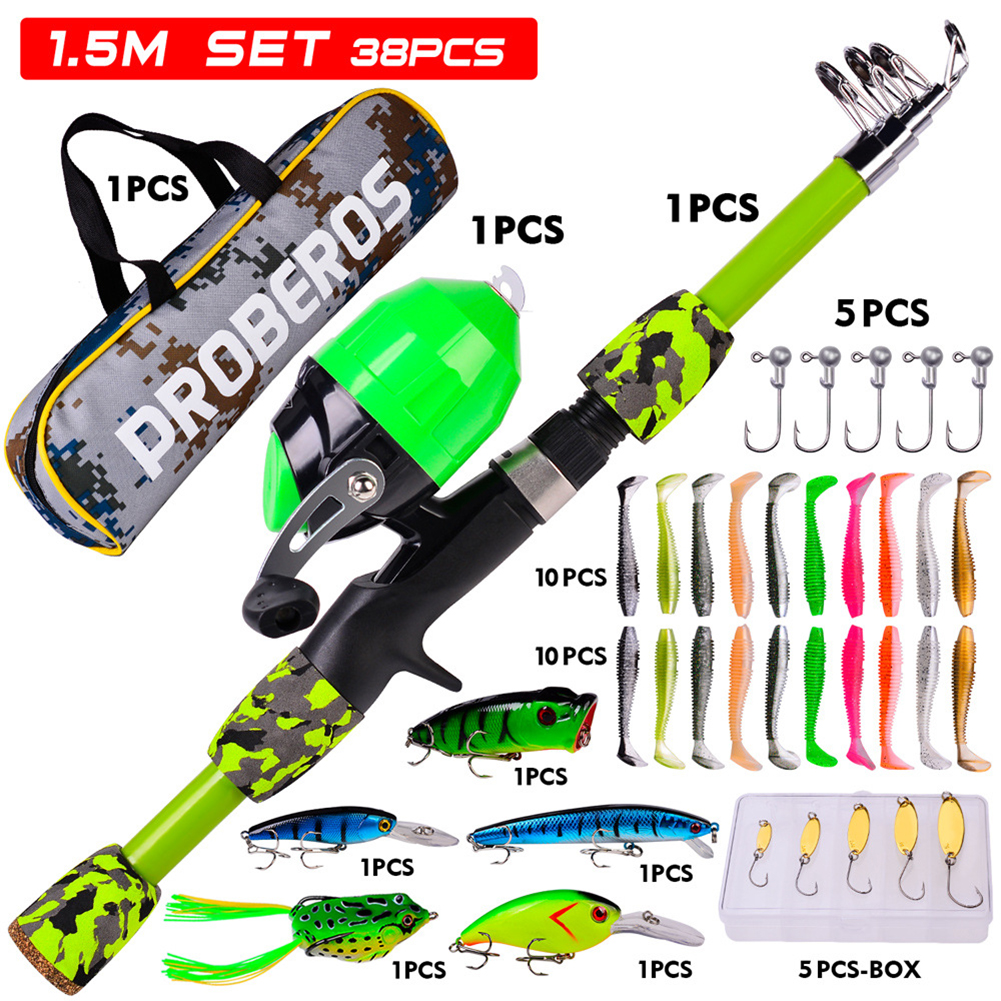 38pcs/set Children Sea Pole Set Mini Spinning Rod Fishing Rod Accessories Camouflage green_38-piece suit/1.5m