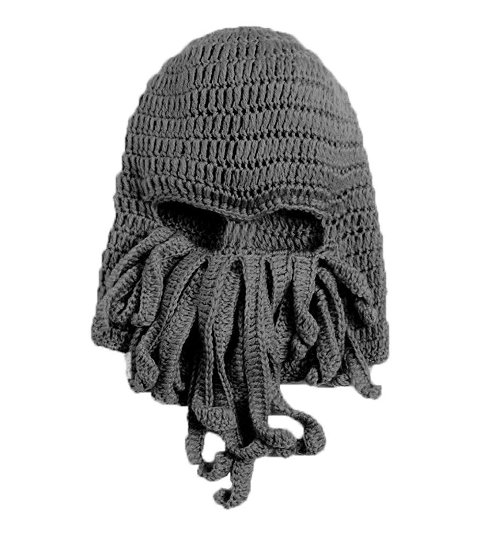 LOCOMO Tentacle Octopus Cthulhu Knit Beanie Hat Cap Wind Ski Mask FFH135GRY