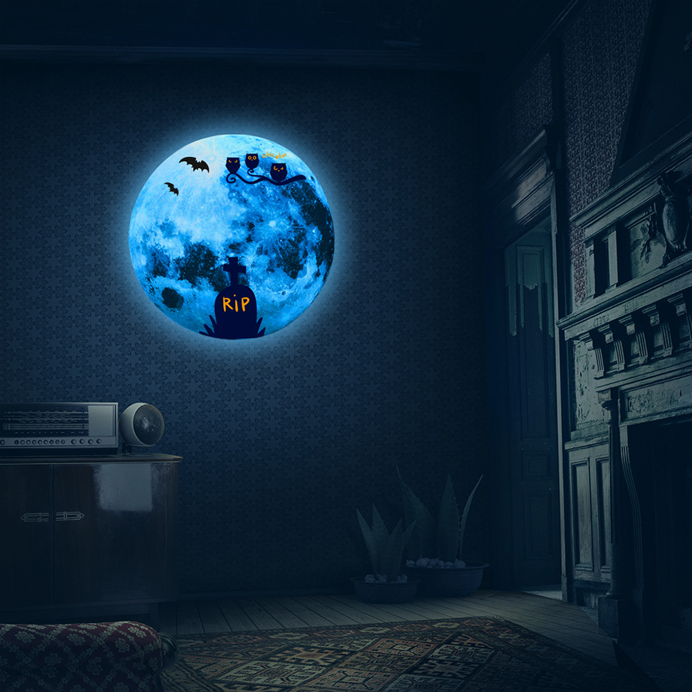 Luminous Blue Moon Wall Sticker Living Room Bedroom Decoration Glow In The Dark Wall Stickers 15G RIP