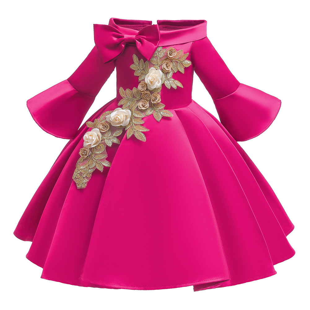 Kids Girls Princess Dress Middle Sleeve Embroidery Full Dress for Christmas New Year Party Wedding Rose_130
