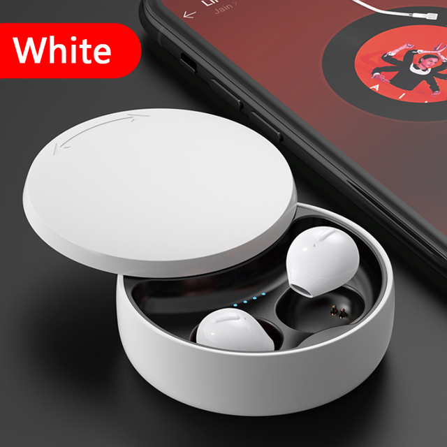 TWS X21S Invisible Bluetooth Headset Mini Wireless Binaural Sports Micro-mini With Charging Case Earbuds White