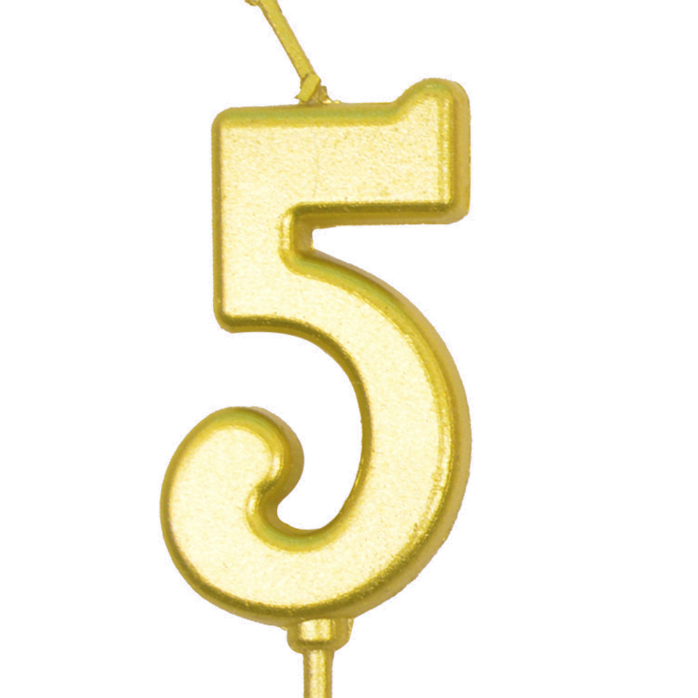 Number Candle Smokeless Gold Color Birthday Cake Topper Decorations Party Cake Supplies Number 5