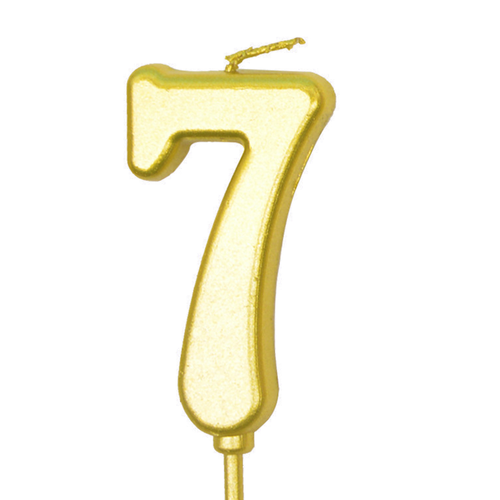 Number Candle Smokeless Gold Color Birthday Cake Topper Decorations Party Cake Supplies Number 7