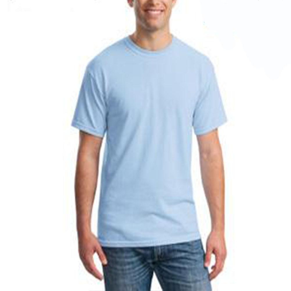 Men Simple Round Collar Cotton Base T-shirt
