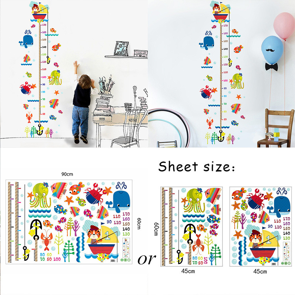 Height Meter Wall Sticker Growth Ruler Cartoon Cat Fishing Children's Room Decoration Section B