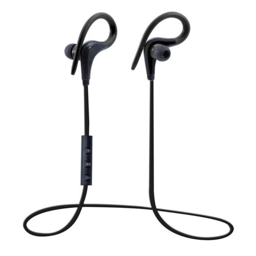 [EU Direct] Sweatproof Bluetooth 4.1 Ear Hook Headset Noise Cancelling Stereo Sports Headphones Earphone with Mic, Perfect for Running Workout and Gym - Black Black