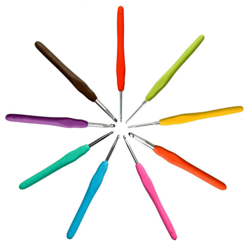 [EU Direct] Crochet Hooks -GOCOMCOM® 9pcs Colorful Ergonomic Grip Crochet Hooks Set, Aluminum Hooks with Color Coded and Non-slip Handles