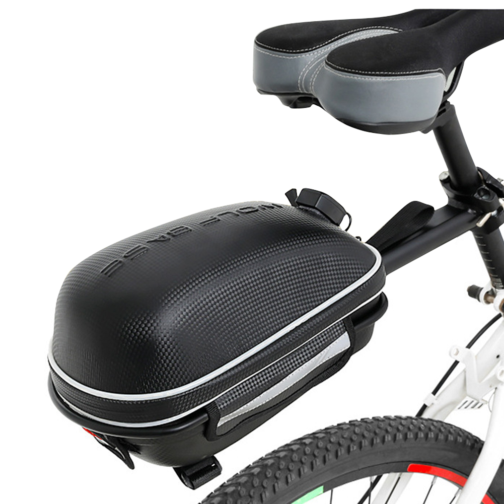 Mountain Bike Shelf Package Hard Cover Tool Bag with Rain Cover and Light Bike Bag Black - with white light_Lighted