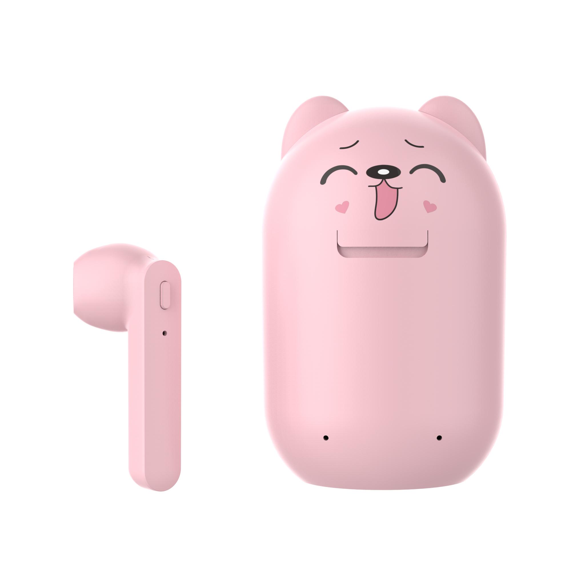 TWS Bluetooth Earphone 5.0 Running Stereo Cartoon Headset with Data Line Pink