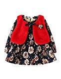 Little Girl's Lotus leaf Long Sleeve Dress&Vest Warm Flowers Printed for Baby Girl
