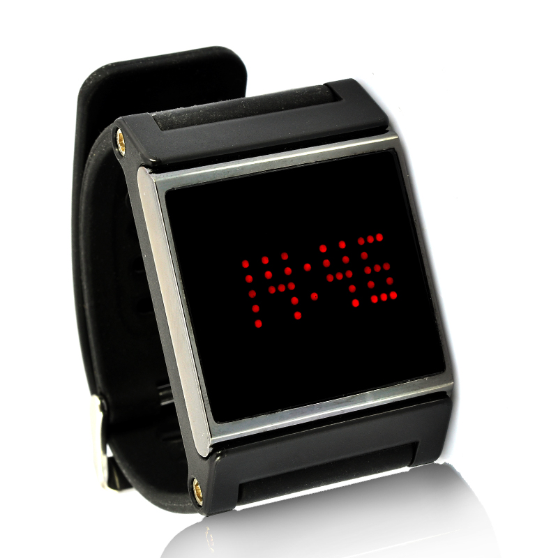 Red LED Wrist Watch w/ Black Strap
