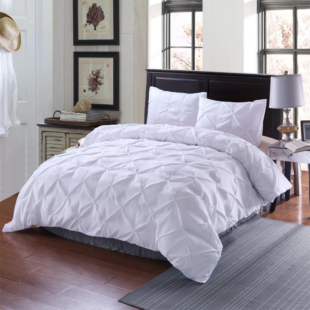 2pcs/3pcs Soft Pleated Duvet  Cover Pillowcase Bedding  Cover  Set