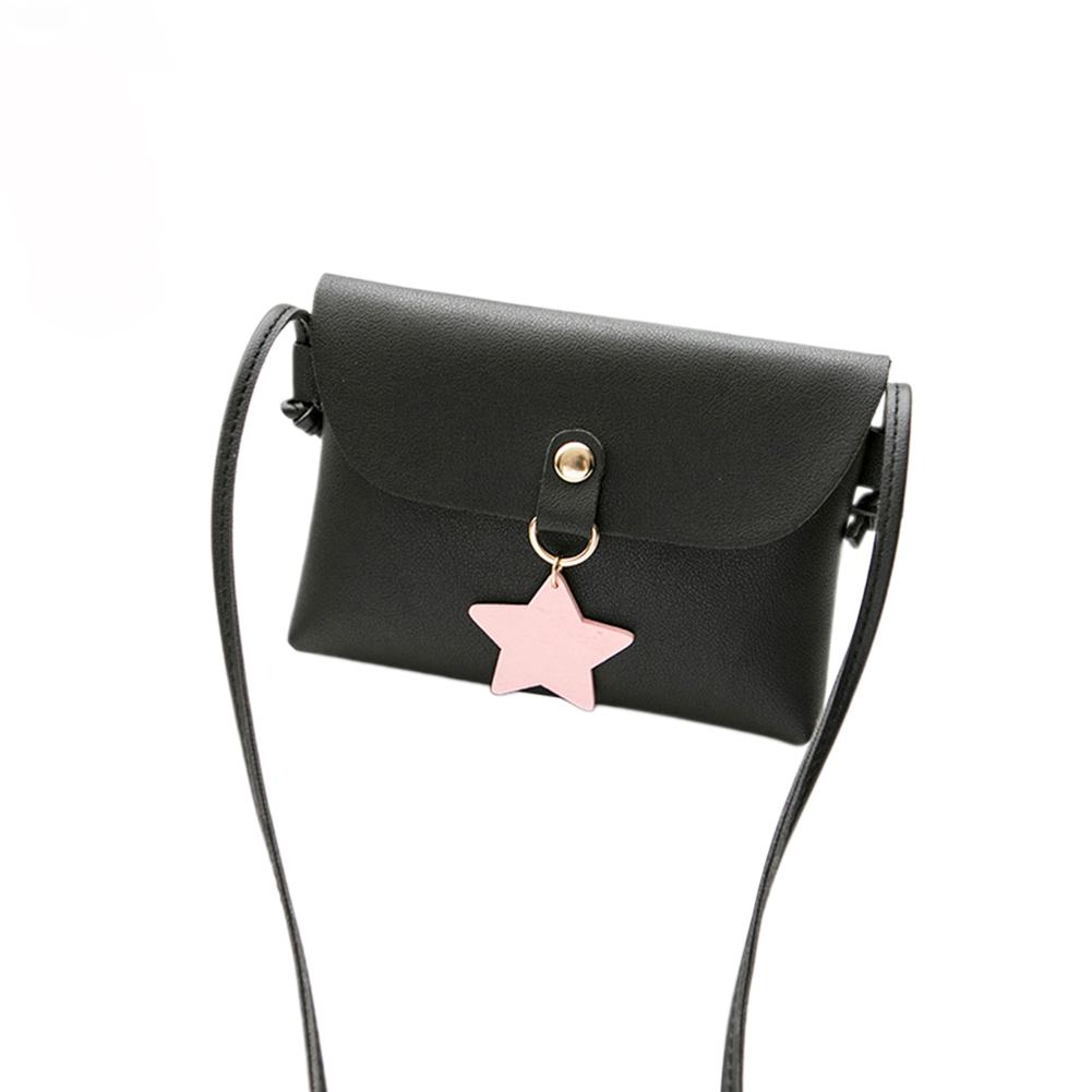 Woman Fashion Mini Casual Shoulder Pouch Star Pendant Stylish Satchel black