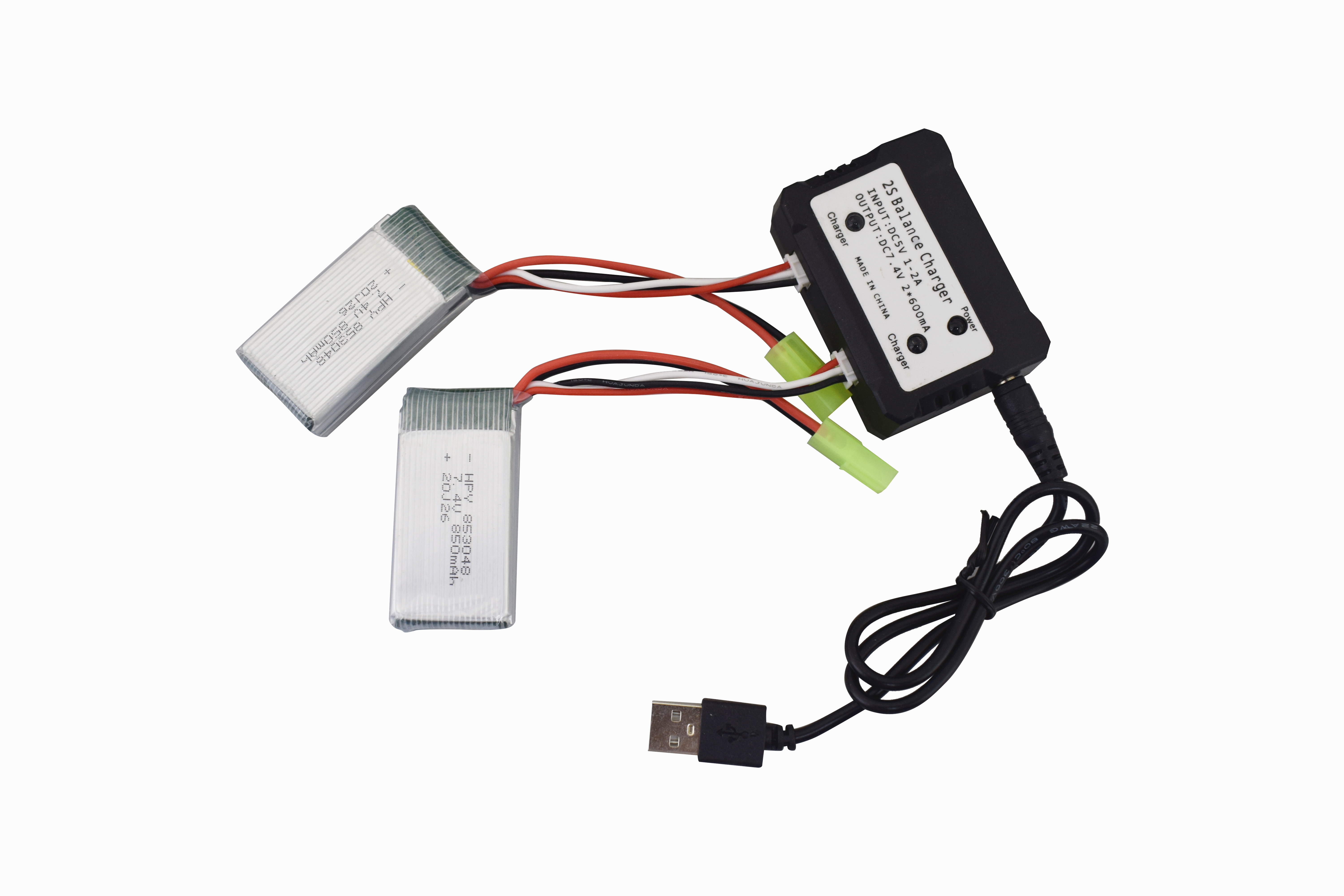 7.4V 850mah Lithium Battery for 9300 9301E 9302E 9303E 9034E 9305E 2.4G 1:18 Full Scale Four Wheel Drive High Speed Off Road RC Car  2*battery+2in 1 charger