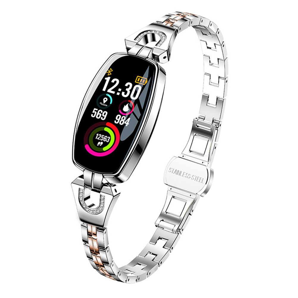 H8 Women Smart Watch Ip67 Waterproof Heart Rate Monitor Bluetooth Sport Fitness Bracelet Ladies Watches Silver
