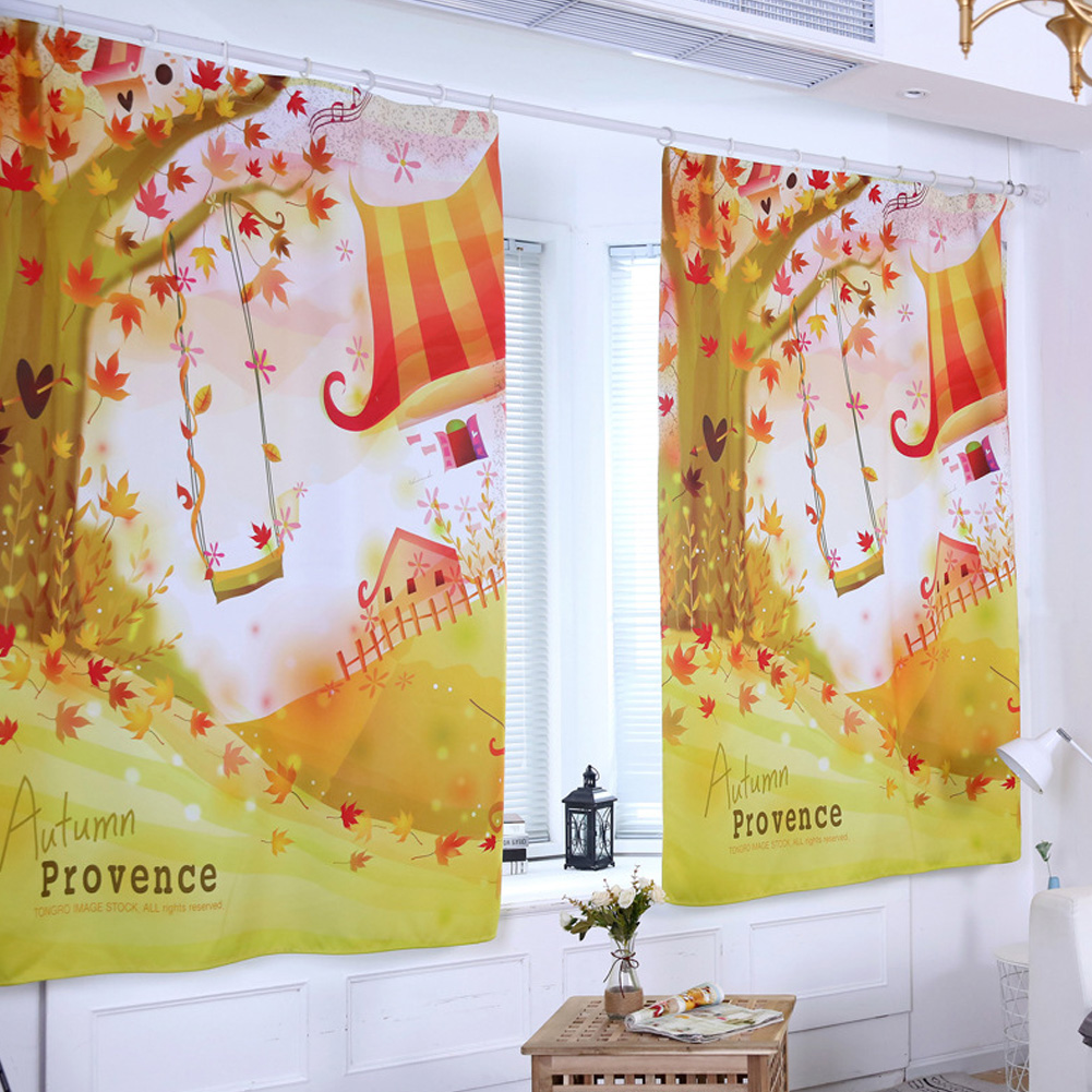 Digital Pattern Printed Curtain Sunshine Block Window Drape Living Bedroom Decoration 0.8 * 2m height hook
