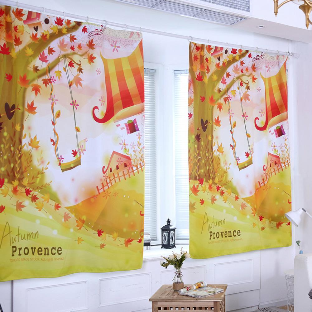 Digital Pattern Printed Curtain Sunshine Block Window Drape Living Bedroom Decoration 1 * 1.3m height hook