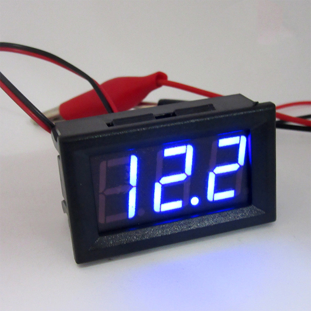 0.56 Inch 2-wire Voltage Meter Head LED Digital Voltmeter with Reverse Polarity Protection Blue DC5.00-30.0V