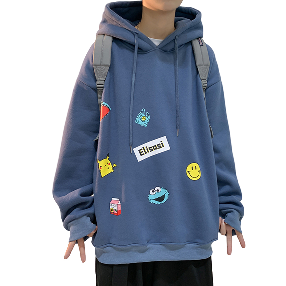 Men's Hoodie Fall Winter Cartoon Print Large Size Loose Long-sleeve Hooded Sweater Blue _M