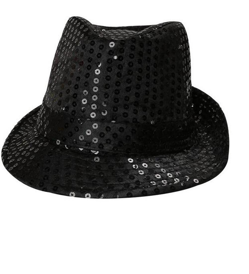 LED Flashing Sequin Fedora Hat Party Novelty Costume Jazz Caps  Black