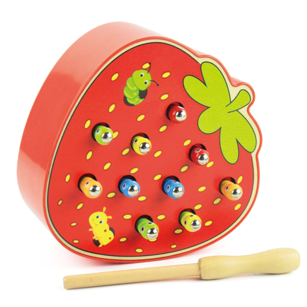 Baby Wooden Toys 3D Puzzle Early Childhood Educational Toys Catch Worm Game Color Cognitive Magnetic Strawberry/Apple Strawberry