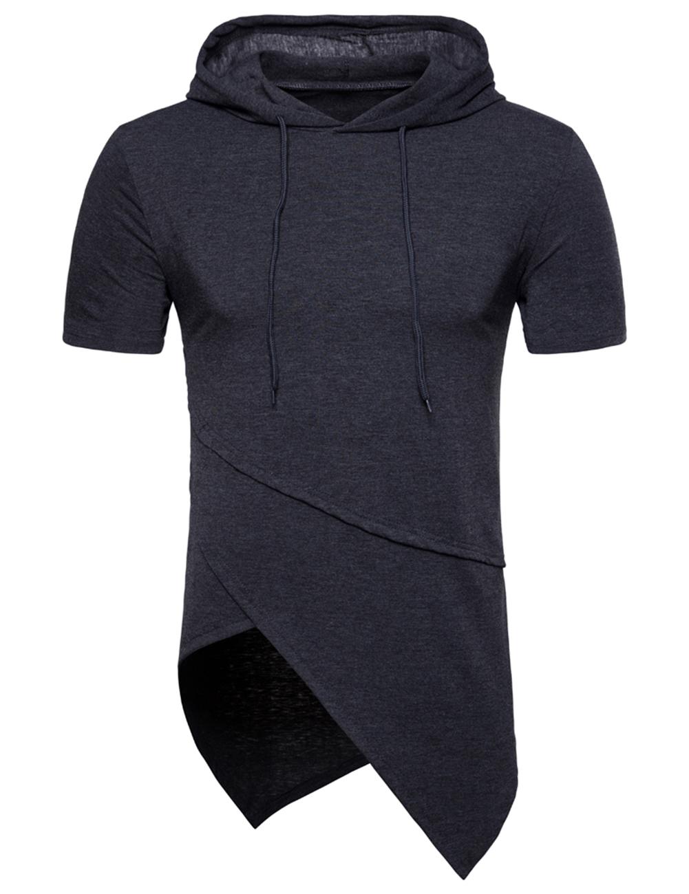 Man Stylish Short Sleeve Sweater Irregular Spliced Hooded Hip hop T-Shirt Tops Coat