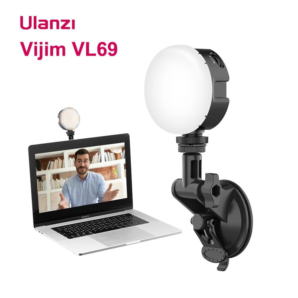 Ulanzi VIJIM VL69 LED Video Light 2500-6500K Round Soft Fill Light Lamp Live Broadcast Conference Lighting Kit for Live Vlog black