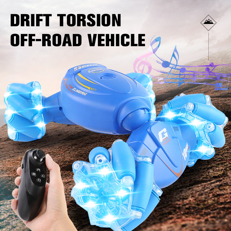 Deformation Off-Road Vehicle Stunt Torsion RC Car Racing 2.4 G Rechargeable Battery Children RC Toys blue