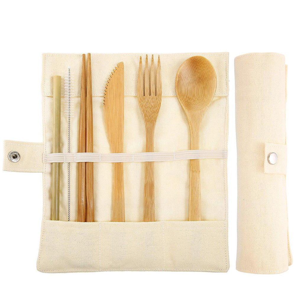 7Pcs/Set Portable Kids Bamboo Cutlery Set with Straw for Travel Beige