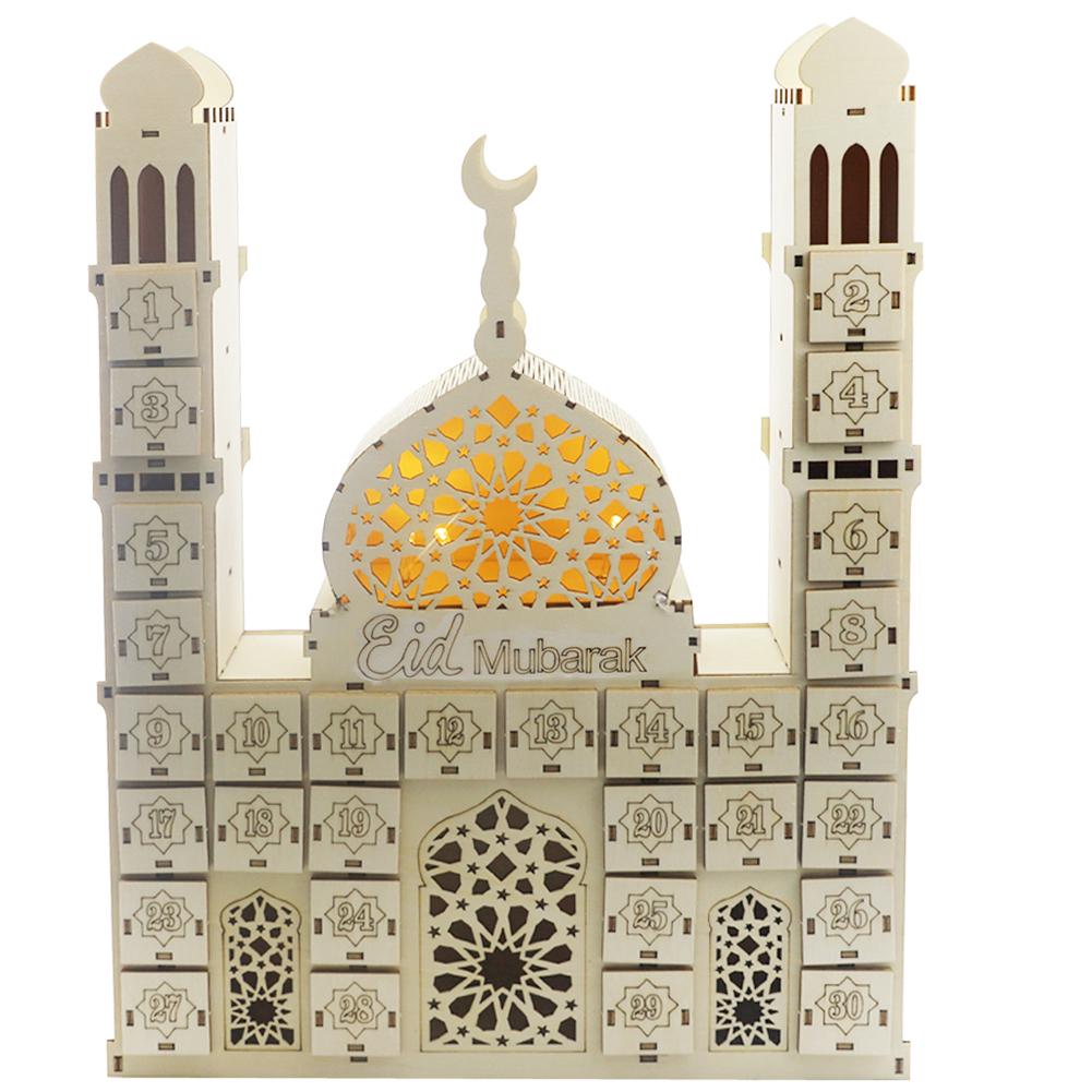 Wooden Ramadan Countdown Calendar DIY Crafts Pendants Eid Mubarak Accessories eid mubarak