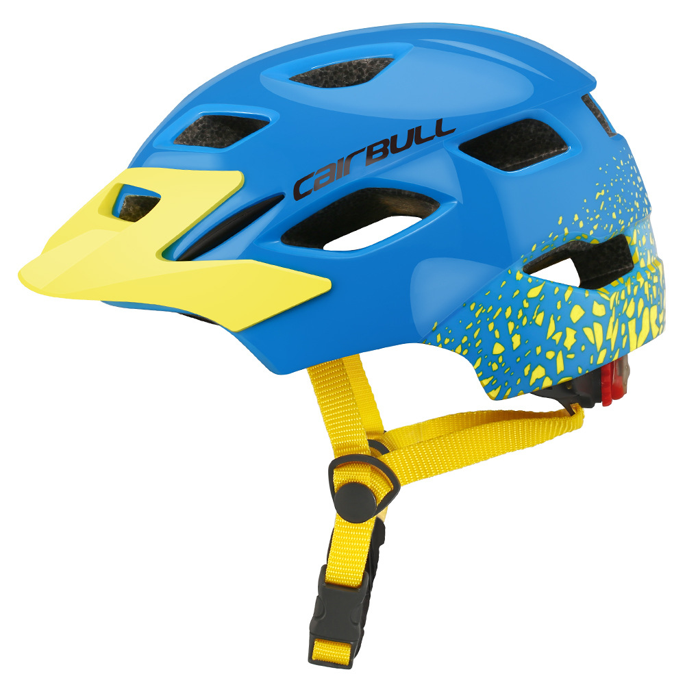 Children Protective Helmet Mountain Road Bike Wheel Balance Scooter Safety Helmet with Tail Light Blue yellow_S-M (50-57CM)