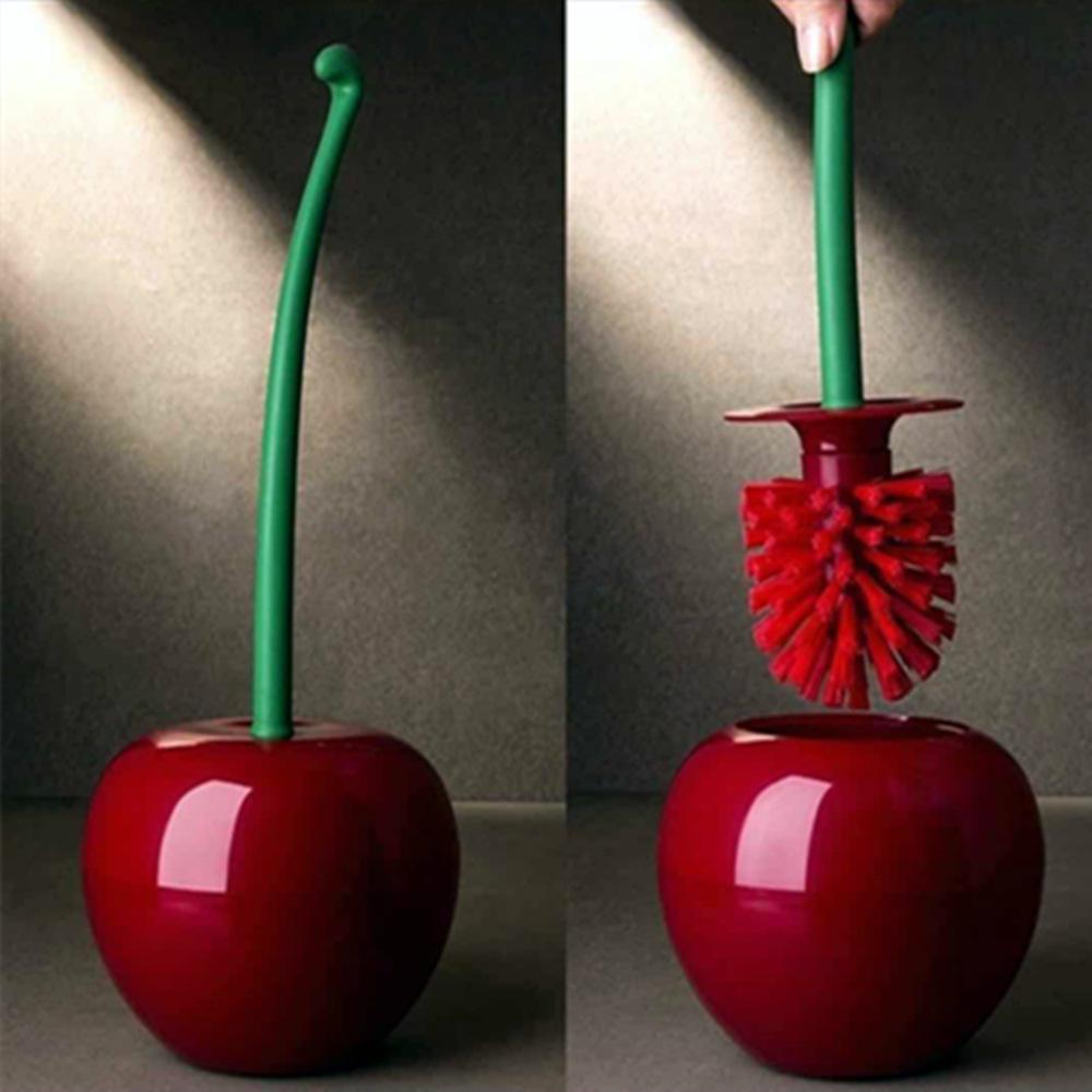 Creative toilet brush cherry toilet brush plastic toilet brush set Wine red red brush head_39*14*14
