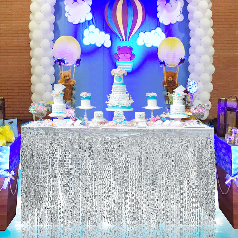 Spiral Tassel Table Skirt for Wedding Birthday Party Decoration Silver_275CMX high 75CM