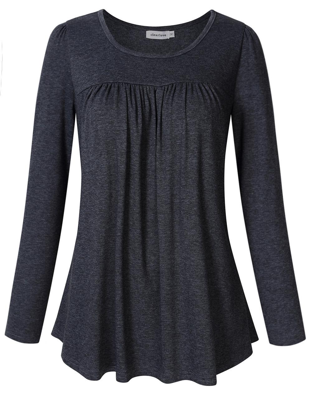 Clearlove Women Scoop Neck Pleated Top Blouse Long Sleeve Tunic Shirt Dark grey_2XL