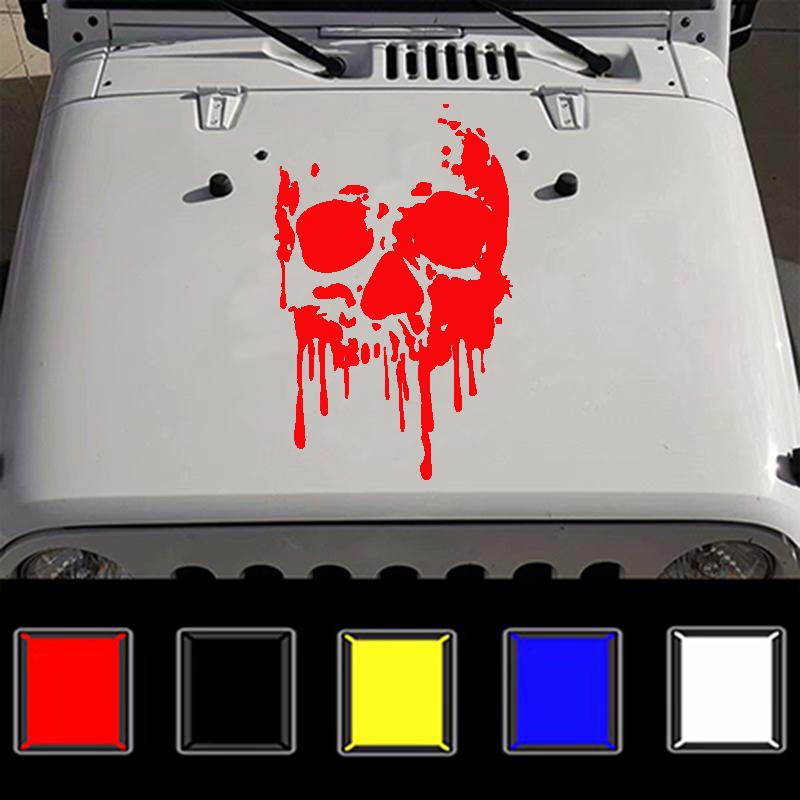 Fashion Car Body DIY Waterproof Bloody Skulls Stylish Decal Stickers Set red