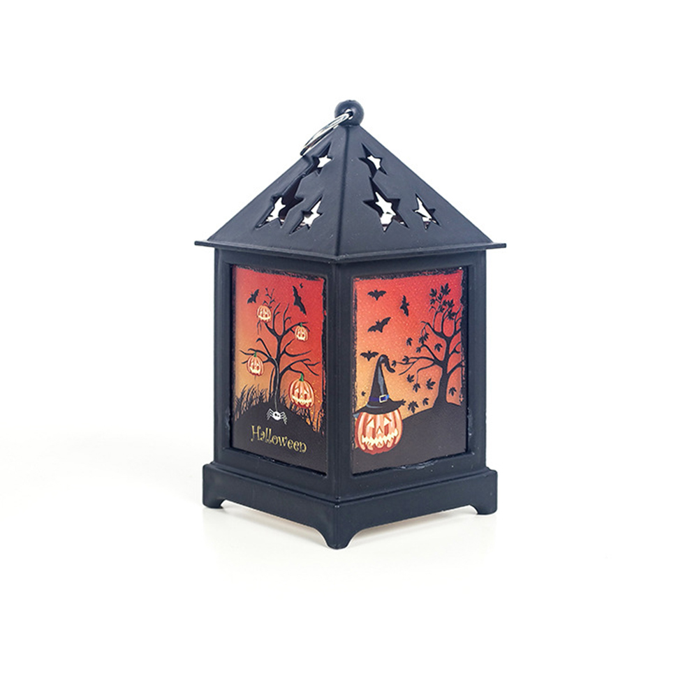 Vintage Colorful Hanging Lantern Hollow Out Flame Lamp Night Light Decor for Halloween Bar Decor