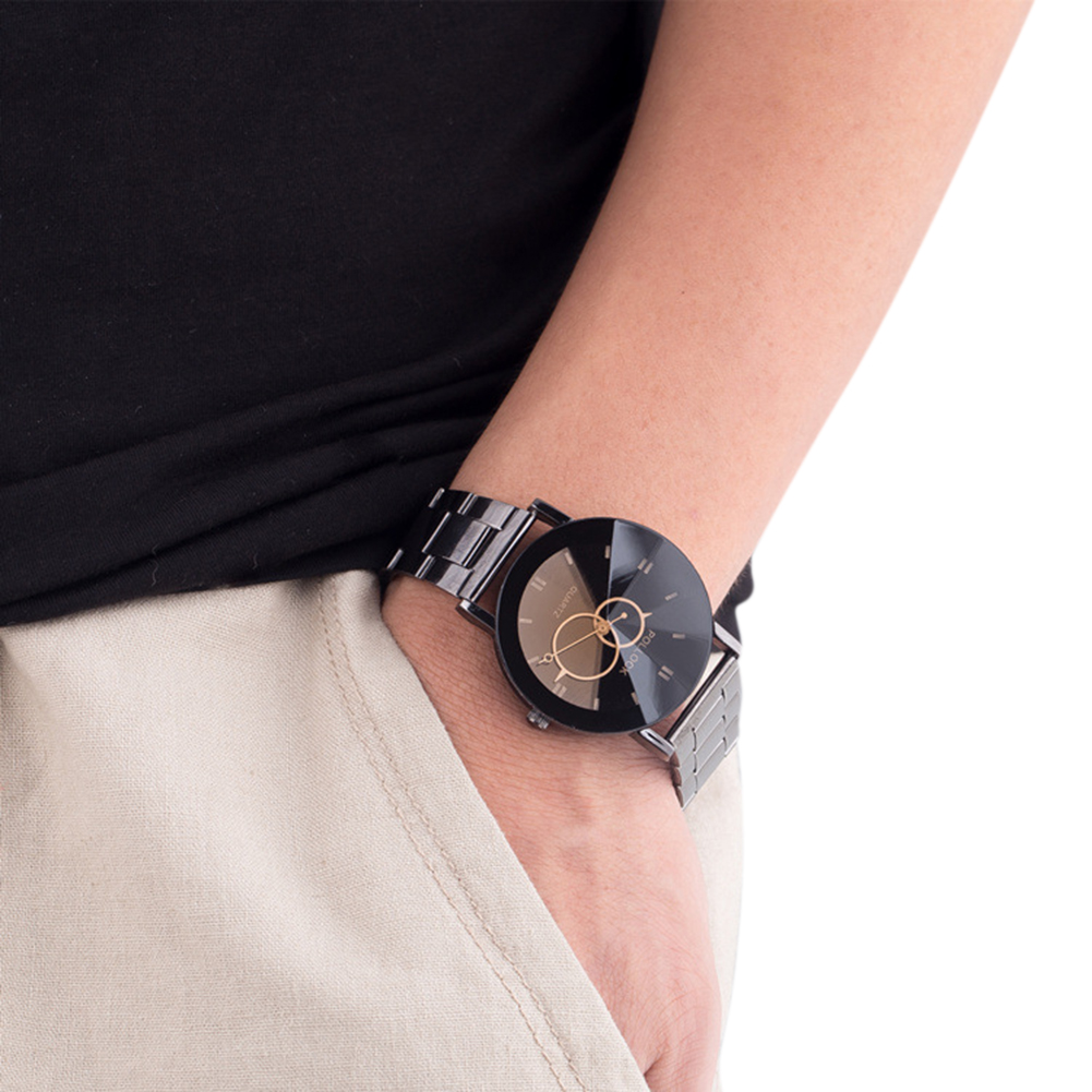 Lovers Steel Watchband Quartz Watch with Turntable Pointer Stylish Wristwatch Ornament Gift small black dial