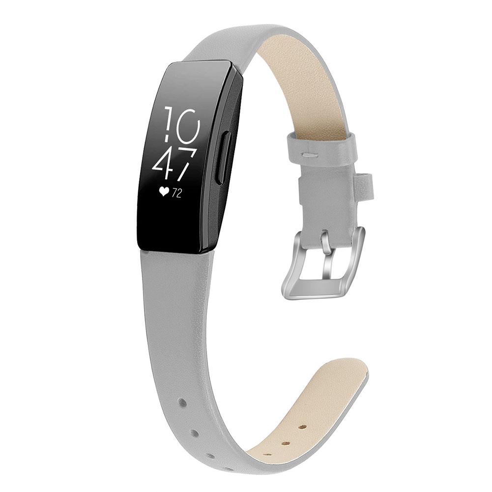 Bracelet Wrist Belt Inspire Pure Color Printing Leather Strap for Fitbit Inspire HR  Light gray L code