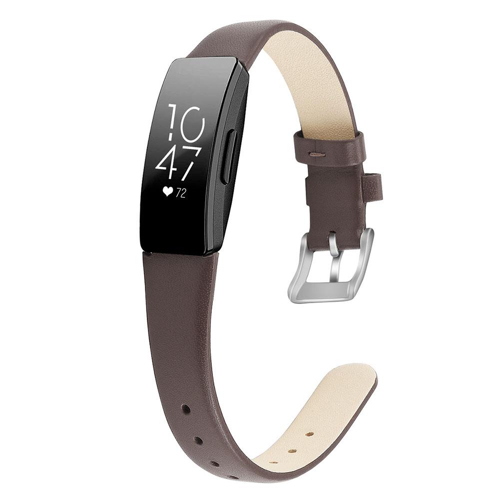 Bracelet Wrist Belt Inspire Pure Color Printing Leather Strap for Fitbit Inspire HR  Brown L code